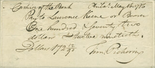 GENERAL TIMOTHY PICKERING - PROMISSORY NOTE SIGNED 05/16/1786