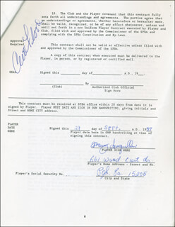 CURT FLOOD - CONTRACT SIGNED 09/29/1989 CO-SIGNED BY: MANNY SANGUILLEN