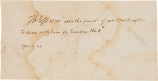 PRESIDENT THOMAS JEFFERSON - THIRD PERSON AUTOGRAPH NOTE 04/06/1821
