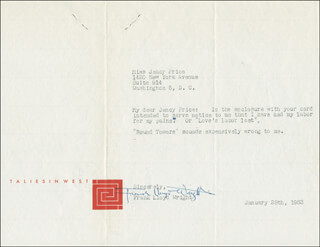 FRANK LLOYD WRIGHT - TYPED LETTER SIGNED 01/28/1953