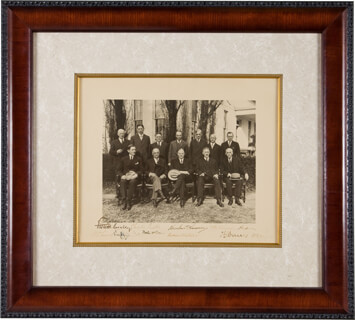 PRESIDENT HERBERT HOOVER - AUTOGRAPHED SIGNED PHOTOGRAPH CO-SIGNED BY: PATRICK J. HURLEY, ARTHUR M. HYDE, WILLIAM D. MITCHELL, CHARLES FRANCIS ADAMS, ANDREW MELLON, RAY L. WILBUR, HENRY L. STIMSON, WALTER F. BROWN, VICE PRESIDENT CHARLES CURTIS, WILLIAM N. DOAK, ROBERT P. LAMONT
