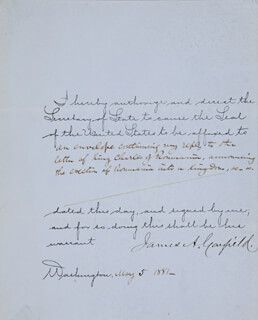 Autographs: PRESIDENT JAMES A. GARFIELD - DOCUMENT SIGNED 05/05/1881