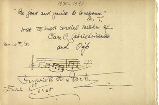 Autographs: OSSIP GABRILOWITSCH - AUTOGRAPH MUSICAL QUOTATION SIGNED 11/10/1930 CO-SIGNED BY: CLARA CLEMENS-GABRILOWITSCH, FREDERICK A. STOCK