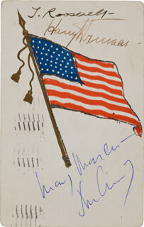 THE THREE PRESIDENTS - POST CARD SIGNED CO-SIGNED BY: PRESIDENT JOHN F. KENNEDY, PRESIDENT THEODORE ROOSEVELT, PRESIDENT HARRY S TRUMAN