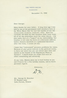PRESIDENT DWIGHT D. EISENHOWER - TYPED LETTER SIGNED 12/15/1960