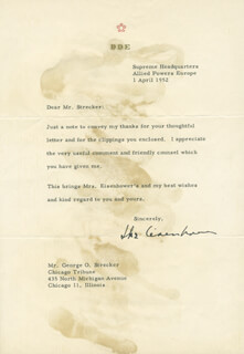PRESIDENT DWIGHT D. EISENHOWER - TYPED LETTER SIGNED 04/01/1952