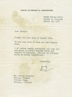 PRESIDENT DWIGHT D. EISENHOWER - TYPED LETTER SIGNED 08/16/1952