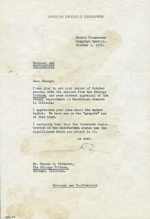 PRESIDENT DWIGHT D. EISENHOWER - TYPED LETTER SIGNED 10/03/1952