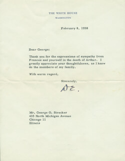 PRESIDENT DWIGHT D. EISENHOWER - TYPED LETTER SIGNED 02/08/1958