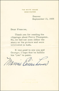 FIRST LADY MAMIE DOUD EISENHOWER - TYPED LETTER SIGNED 09/13/1955
