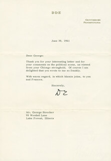 PRESIDENT DWIGHT D. EISENHOWER - TYPED LETTER SIGNED 06/30/1961