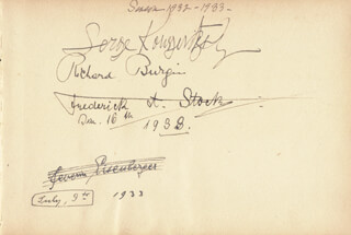 SERGE ALEXANDROVICH KOUSSEVITZKY - AUTOGRAPH CO-SIGNED BY: FREDERICK A. STOCK, SEVERIN EISENBERGER, RICHARD BURGIN, SJARENINIG HUNTINGTON, ANDRE STRAUSS