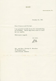 PRESIDENT DWIGHT D. EISENHOWER - TYPED LETTER SIGNED 10/16/1961