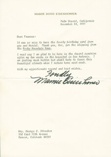 FIRST LADY MAMIE DOUD EISENHOWER - TYPED LETTER SIGNED 11/24/1971
