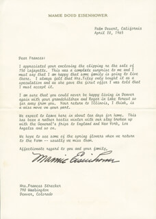 FIRST LADY MAMIE DOUD EISENHOWER - TYPED LETTER SIGNED 04/20/1965