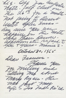 FIRST LADY MAMIE DOUD EISENHOWER - AUTOGRAPH LETTER SIGNED 10/20/1965