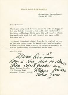 FIRST LADY MAMIE DOUD EISENHOWER - TYPED LETTER SIGNED 08/17/1967