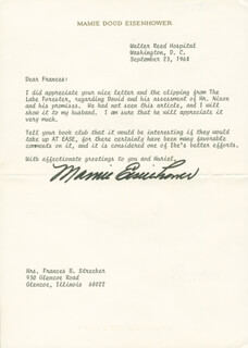 FIRST LADY MAMIE DOUD EISENHOWER - TYPED LETTER SIGNED 09/23/1968