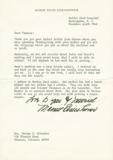 FIRST LADY MAMIE DOUD EISENHOWER - TYPED LETTER SIGNED 12/05/1968