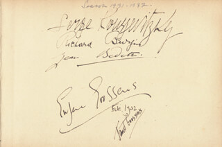 SIR EUGENE GOOSSENS - AUTOGRAPH 2/1932 CO-SIGNED BY: SERGE ALEXANDROVICH KOUSSEVITZKY, RICHARD BURGIN, JEAN BEDETI, JANET GOOSENS