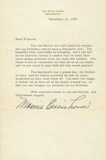 FIRST LADY MAMIE DOUD EISENHOWER - TYPED LETTER SIGNED 11/19/1956