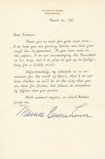 FIRST LADY MAMIE DOUD EISENHOWER - TYPED LETTER SIGNED 03/14/1957