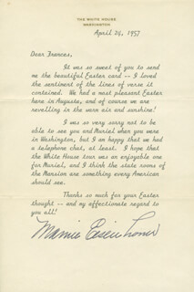 FIRST LADY MAMIE DOUD EISENHOWER - TYPED LETTER SIGNED 04/24/1957