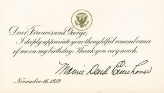 Autographs: FIRST LADY MAMIE DOUD EISENHOWER - PRINTED CARD SIGNED IN INK 11/16/1959