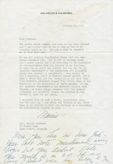 FIRST LADY MAMIE DOUD EISENHOWER - TYPED LETTER TWICE SIGNED 10/31/1952