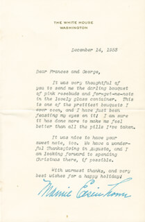 FIRST LADY MAMIE DOUD EISENHOWER - TYPED LETTER SIGNED 12/14/1953