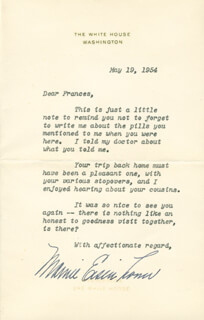FIRST LADY MAMIE DOUD EISENHOWER - TYPED LETTER SIGNED 05/19/1954