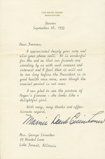 FIRST LADY MAMIE DOUD EISENHOWER - TYPED LETTER SIGNED 09/28/1955