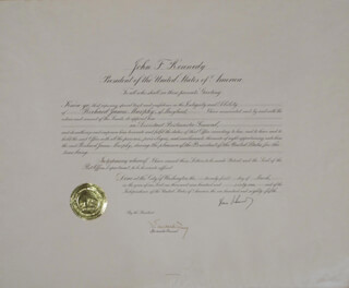 Autographs: PRESIDENT JOHN F. KENNEDY - DOCUMENT SIGNED 03/21/1961 CO-SIGNED BY: J. EDWARD DAY