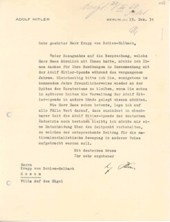 ADOLF DER FUHRER HITLER - TYPED LETTER SIGNED 12/15/1934