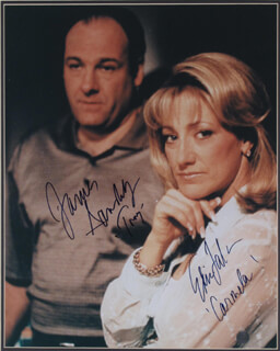 THE SOPRANOS TV CAST - AUTOGRAPHED SIGNED PHOTOGRAPH CO-SIGNED BY: JAMES GANDOLFINI, EDIE FALCO