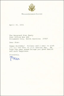 PRESIDENT WILLIAM J. BILL CLINTON - TYPED LETTER SIGNED 04/30/2001