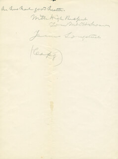 Autographs: LT. GENERAL JAMES LEE'S WAR HORSE LONGSTREET - COLLECTION 03/13/1901 WITH ELIHU ROOT