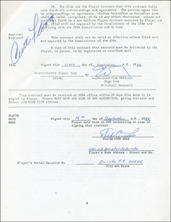 CURT FLOOD - CONTRACT SIGNED 09/16/1989 CO-SIGNED BY: MIKE CUELLAR