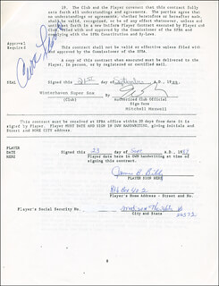 CURT FLOOD - CONTRACT SIGNED 09/23/1989 CO-SIGNED BY: JIM BIBBY