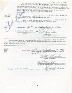CURT FLOOD - CONTRACT SIGNED 09/27/1989 CO-SIGNED BY: MATT ALEXANDER