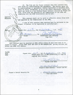 CURT FLOOD - CONTRACT SIGNED 09/25/1989 CO-SIGNED BY: RON PRUITT