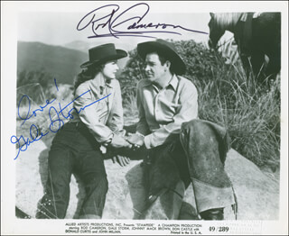 STAMPEDE MOVIE CAST - AUTOGRAPHED SIGNED PHOTOGRAPH CO-SIGNED BY: GALE STORM, ROD CAMERON