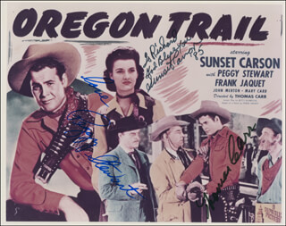 OREGON TRAIL MOVIE CAST - AUTOGRAPHED INSCRIBED PHOTOGRAPH CO-SIGNED BY: PEGGY STEWART, SUNSET CARSON, THOMAS CARR