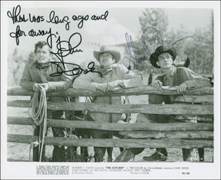 THE OUTCAST MOVIE CAST - PRINTED PHOTOGRAPH SIGNED IN INK CO-SIGNED BY: JOHN DEREK, SLIM PICKENS
