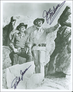 THE RANGE RIDER TV CAST - AUTOGRAPHED SIGNED PHOTOGRAPH CO-SIGNED BY: DICK JONES, JOCK MAHONEY