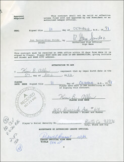 KIM ALLEN - CONTRACT MULTI-SIGNED 10/11/1991