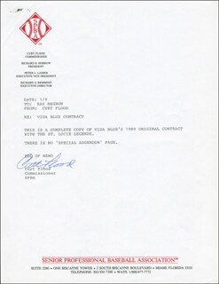 CURT FLOOD - TYPED LETTER SIGNED 01/09