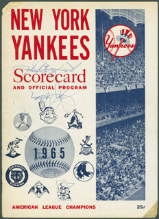 THE NEW YORK YANKEES - PROGRAM COVER SIGNED CO-SIGNED BY: JERRY COLEMAN, PHIL RIZZUTO