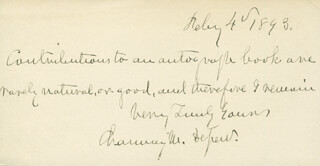 CHAUNCEY M. DEPEW - AUTOGRAPH NOTE SIGNED 02/04/1893