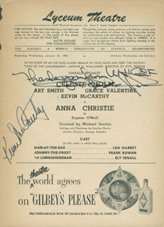 Autographs: ANNA CHRISTIE BROADWAY CAST - SHOW BILL SIGNED CO-SIGNED BY: KEVIN McCARTHY, CELESTE HOLM